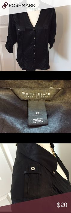 Black Silk Button Down Button down top with accents on each shoulder and pockets in front. Silk & spandex White House Black Market Tops Button Down Shirts