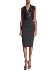 Sleeveless Embellished Draped Top & Hexagon Fitted Pencil Skirt by Victoria Beckham at Neiman Marcus.