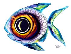 Fish Painting - Bubble Fish One by J Vincent Scarpace Bubble Fish, Water Fairy, Sea Life Art, Bubble Painting, Vader Star Wars, Art Addiction, Ocean Creatures, Colorful Fish, Sale Poster