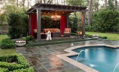 It's time to add attraction and charming beauty to the patio by designing these elegant and unique pergola designs. These amazing pergola plans are meant to… Pool Shade, Pool Houses, Pergola Designs, Outdoor Living Areas