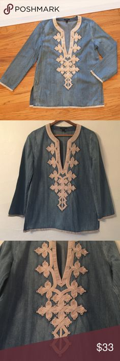 J. Crew, Denim Embroidered Tunic Very stylish denim tunic with elaborate embroidered brocade along a deep plunging v neck. Pairs with so much. J. Crew Tops Tunics