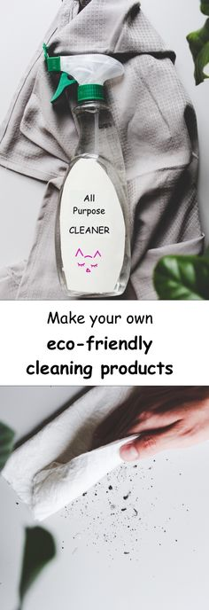 Make your own eco-friendly cleaning products with just a few easy steps! The easy, sustainable and cheap way to save the environment. #cleaning #diy #products