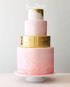 pink and metallic gold wedding cake