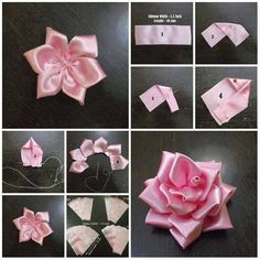 156 Best Diy Ribbon Flower Images In 2019 Fabric Flowers Ribbon