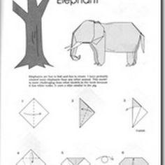 Elefante papiroflexia con diagramas