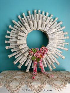 Anthropologie Rolled Paper Wreath Book Page Wreath Pink Rosettes Hymnal Paper Wreath Sheet Music Wreath. 25.00, via Etsy.