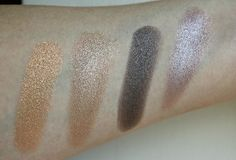 L'Oreal Color Riche L'Ombre Pure Eyeshadow swatches - Lumiere 500 – a warm gold, Nude 204 – a golden brown nude, Lumiere 502 – a rich metallic taupe and Nude 201 – a warm pink toned taupe brown