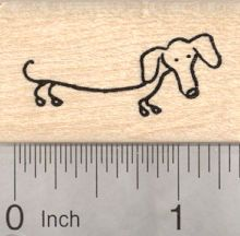 Dachshund Rubber Stamp, Stick Figure Dog B21225 Wood Mounted
