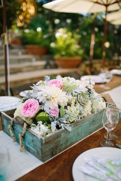 Centerpiece in a tray or a box -- See more of this wedding on #SMP here: http://www.StyleMePretty.com/california-weddings/2014/04/15/wedding-al-fresco-at-rancho-del-cielo/ Photography: Nate & Amanda Driver - driverphoto.net