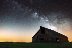 Barn by Aaron Groen on Capture Minnesota // Barn by Aaron J. Groen Milky Way Stars shine bright over this old barn near Luverne, Minnesota. www.facebook.com/HomeGroenPhotography  Buy on Canvas