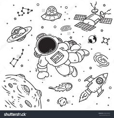 Space theme doodle with cosmonaut, satellite and planet