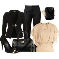 Nude, black and gold work outfit