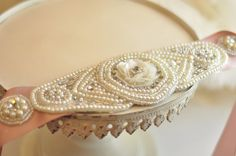 "From China ""Handmade"" Bridal Belt, ribbon sash belt  w/ pearls, crystals, & rhinestones"