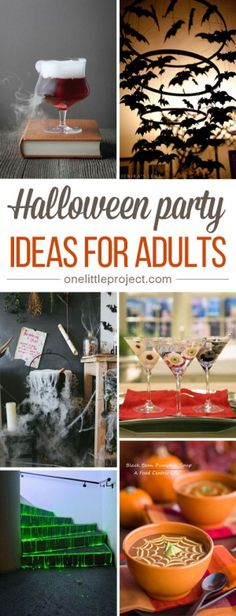 This list has me inspired! From spooky cocktails to elegant party decor, this collection of Halloween party ideas for adults will help you plan the BEST PARTY EVER!