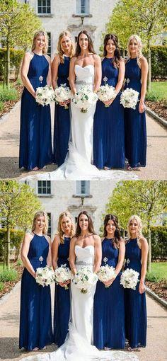 New A-Line Halter Royal Blue Chiffon Long Bridesmaid Dresses abdd129a5a8e