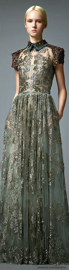 """Not fond of the collar or the unhappy model but the dress is lovely, the mystery of lace alive """"Valentino ● Pre-Fall 2014"""""""