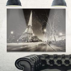 Paris Eiffel Tower Light Performance Show in Dusk - Cityscape Glossy Metal Wall Art