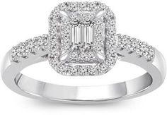 MODERN BRIDE 3/8 CT. T.W. Diamond 10K White Gold Engagement Ring - $999.99 Heart Promise Rings, Bridal Jewelry, White Gold, Engagement Rings, Bride, Diamond, Metal, Modern, Weddings