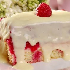 Upside-Down Raspberry with White Chocolate Sauce