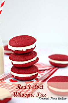 Red velvet whoopie pies with cream cheese frosting from Roxanashomebaking.com Soft, cake-like cookies sandwiched with a smooth sweet cream cheese frosting