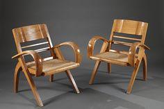 Paire de fauteuils en bois et cannée dans le goût de l'Indochine