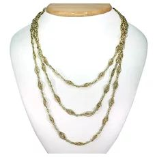 Beaded Necklace, Gold Necklace, Chain Links, French Antiques, 18k Gold, Jewelry, Fashion, Beaded Collar, Moda