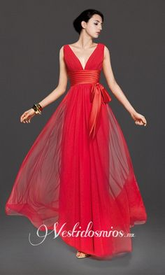 prom dress in red cloth chifon with a sash at the waist and a bow aside a v-neck, sleeveless with a free fall has a cost of $100 dollars