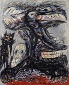 Asger Jorn, 1951** Zijn werk bevat vaak angstaanjagende, mythische wezens. Hij wilde in zijn beeldtaal een verbinding leggen tussen de Noord-Europese oude mythologie en zijn eigen moderne tijd. De dieren waren daarbij een afspiegeling van de wereld van de mensen.