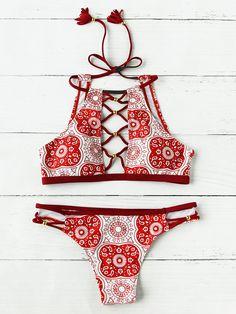 Shop Beading Crisscross Plunge Neck Geo Halter Bikini online. SheIn offers Beading Crisscross Plunge Neck Geo Halter Bikini & more to fit your fashionable needs. #halterbikini
