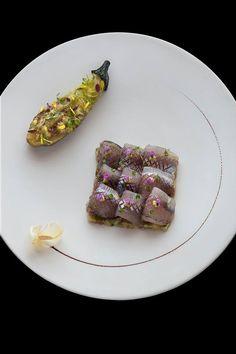 Carpaccio of Ayu trout, Sweet fish from Shinshu and summer eggplant [Bleston Court Yukawatan's summer menu] | HOSHINOYA Karuizawa, Japan
