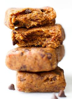 Healthy THREE Ingredient No Bake Cookie Dough Protein Bars- NO flour, grains, sugar, butter or oil and naturally sweetened- Seriously, SO Fudgy and just like a Larabar Copycat! {vegan, gluten free, paleo recipe} - thebigmansworld.com