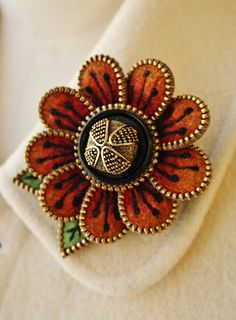 Felt and zipper  flower brooch rusty orange by woollyfabulous on Etsy, $42.00