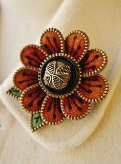 Felt and zipper  flower brooch rusty orange by woollyfabulous on Etsy, $42.00