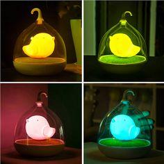 Rechargeable Batteries LED Night Light  Children's Lighting Lamp Bird Cage Sound Sensor Kid Light