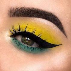 Edgy Makeup, Eye Makeup Art, Crazy Makeup, Smokey Eye Makeup, Skin Makeup, Eyeshadow Makeup, Neon Eyeshadow, Eyeshadows, Yellow Eye Makeup
