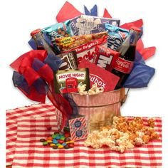 Buy A Movie Night Gift Pail - Medium. More - A Movie Night Gift Pail - Medium. A Movie Night Gift Pail - MediumThe Blockbuster Night Movie gift basket will treat the family to all the snacks they can eat during the movie! Packed into a 10 inch metal pail, Date Night Gift Baskets, Movie Basket Gift, Movie Night Gift Basket, New Mom Gift Basket, Date Night Gifts, Movie Gift, 2 Movie, Movie Theater, Party Knaller