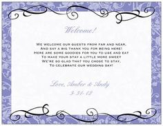 poems for hotel welcome bags - The Knot
