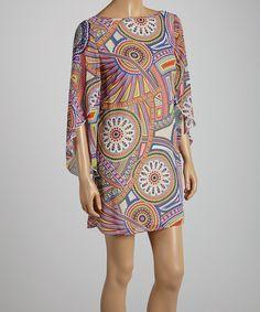 Look at this #zulilyfind! Fuchsia & Orange Abstract Circle Shift Dress by Adrienne #zulilyfinds