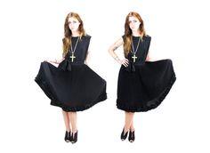 1950s Black Pleated Skirt Dress