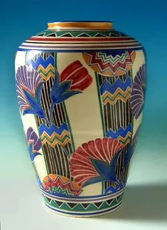 "Magnificent art deco Poole Pottery vase, 14"" high with a pattern designed by Truda Carter."