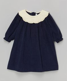 Love this Navy Blue & Ivory Collar Dress - Infant & Toddler by Fantaisie Kids on #zulily! #zulilyfinds