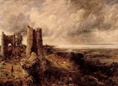 John Constable, Hadleigh Castle, The Mouth of the Thames—Morning after a Stormy Night, Oil on canvas. Yale Center for British Art, Paul Mellon Collection John Constable Paintings, Castle Painting, English Romantic, English Heritage, Thing 1, Oil Painting Reproductions, Best Artist, Landscape Paintings, Landscape Art