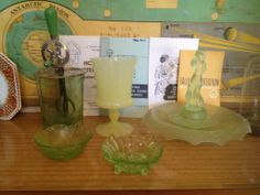 Some of my uranium glass pieces under normal light.