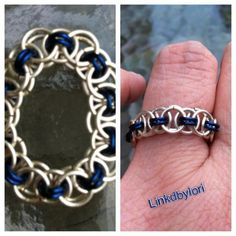 Royal Blue Helm Chain Ring!!   Linkdbylori - Jewelry on ArtFire