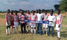Limerick midfielder Prince Agyemang with his team at the Angel Soccer Academy in Kumasi, Ghana.