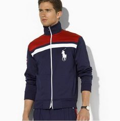 polo ralph lauren outlet Men Red White Big Pony Full Zip Hoody