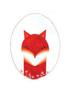 Fox print of watercolor illustration red nursery art by VApinx