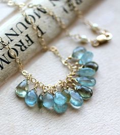 Moss Aquamarine Necklace Faceted Gemstone by LRoseDesigns on Etsy, $64.50