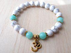 Howlite Bracelet Mala Beads Bracelet White Calming by XtraClaire