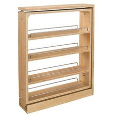 """Rev-A-Shelf - - 5 in. Pull-Out Wood Base Cabinet Organizer. Wood organizer simply fits into existing cabinet. Units glide on our patented """"tri-slides"""" which minimize any side-to-side motion and provide complete stability when pulled out of the cabinet. Inside Cabinets, Wood Kitchen Cabinets, Base Cabinets, Shaker Cabinets, Kitchen Flooring, Kitchen Cabinet Organization, Storage Cabinets, Kitchen Storage, Cabinet Organizers"""